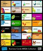 Variety of 28 detailed horizontal Colorful abstract business cards collection on different topics