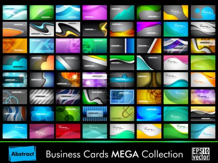 Illustration for Beautiful mega collection of 64 colorful professional and designer business cards or visiting cards on different topic, arrange in horizontal and vertical. EPS 10. - Royalty Free Image