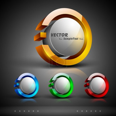 Illustration for Abstract 3D glossy icon sets in yellow, blue, green or red color with grey color combination, isolated on grey with text space.EPS 10. can be use as icons, element, banner or background. - Royalty Free Image