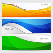 Vector illustration of banners or website headers with green orenge and blue color wave EPS 10 format