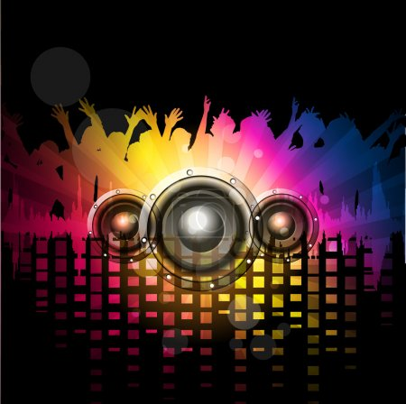 Musical rock night party background with speakers and silhouette. vector.