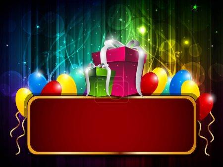 Ilustración de Colorful shiny balloon and gifts background with billborad. EPS 10. - Imagen libre de derechos