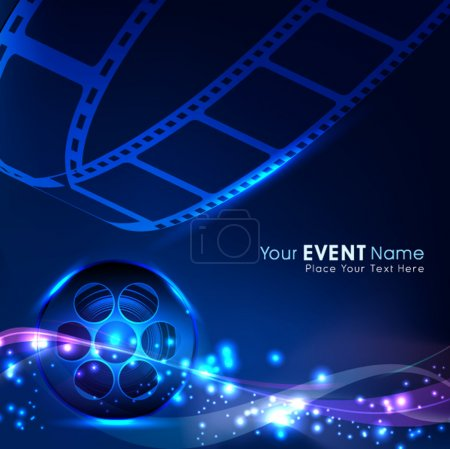 Illustration of a film stripe or film reel on shiny blue movie background. EPS 10