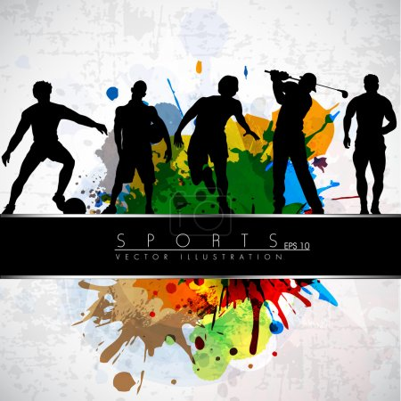 Illustration for Silthouette of sports persons on colorul grungy background with text line. EPS 10. - Royalty Free Image