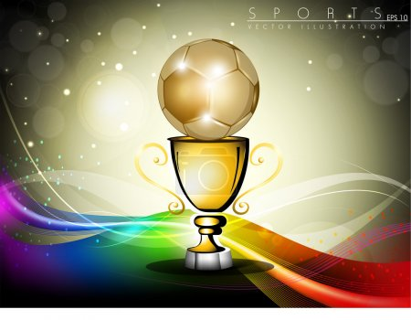 Golden trophy or golden cup with red ribbons, isolated on grey b