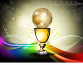 Golden trophy or golden cup with red ribbons isolated on grey b