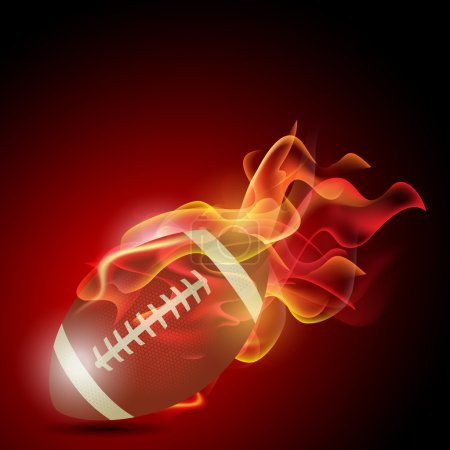 Realistic American football in the fire. Illustration on white b