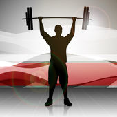 Vector illustration weight lifter with heavy weight on abstract wave background EPS 10