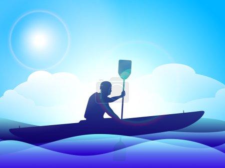 Vector illustration of man doing kayaking in sea ,EPS 10