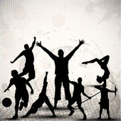 Silhouette of sports persons or athletes on abstract grungy grey background EPS 10