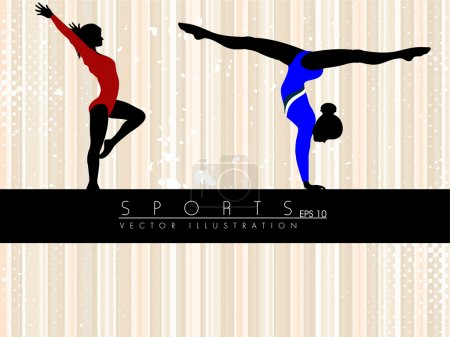 Illustration of rhythmic gymnastic girls on abstract grungy lines background. EPS10.