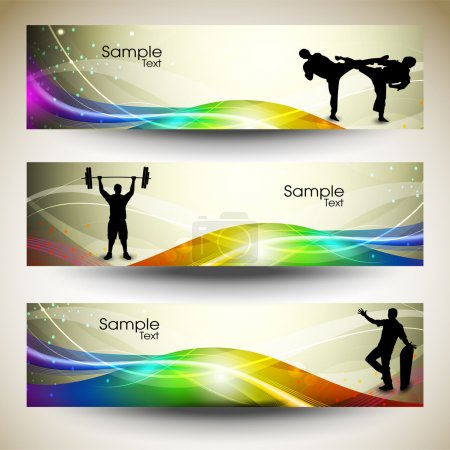 Abstract Sports Banner or website headers with colorful wave concept. EPS 10.