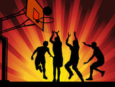 Vector illustration silhouettes of basketball players on shining wave abstract background EPS10