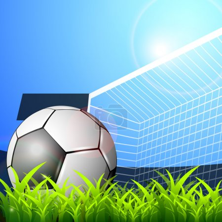 Illustration of a football stadium with glossy soccer ball and goal post on nature background. EPS 10.