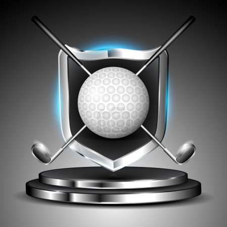 Metallic glossy winning shield of golf ball with sticks on glossy stage. EPS 10.
