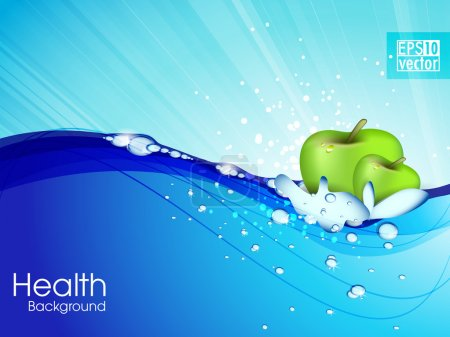 Water droplets on water surface. Apple floats in water. Vector i
