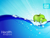 Water droplets on water surface Apple floats in water Vector i