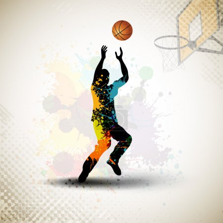 Illustration for Illustration of a basketball player practicing with ball at court on colorful shiny abstract grungy background. EPS 10. - Royalty Free Image