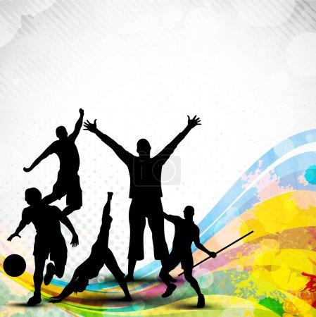 Illustration pour Silhouette de sportifs ou des athlètes sur fond abstrait vague grungy et coloré. EPS 10. - image libre de droit