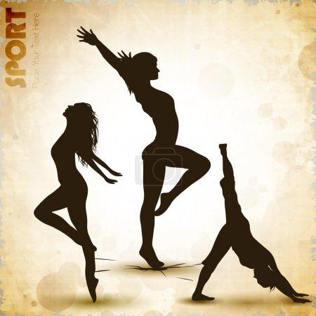 Illustration of rhythmic gymnastic girls on grungy abstract back