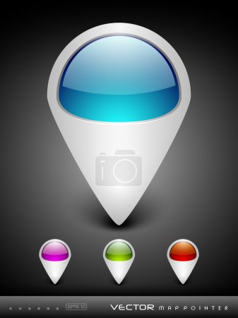 Illustration for Abstract 3D glossy map pointers in blue, green, pink and red color with grey color combination, isolated on grey with text space.EPS 10. can be use as icons, element, banner or background. - Royalty Free Image