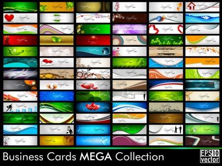 Illustration pour Mega collection de 78 cartes de visite professionnelles et concepteur abstraites ou cartes de visite sur un sujet différent, organiser en horizontal. EPS 10. - image libre de droit