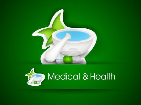 Illustration for Illustration of mortal and pestle with green leave. EPS 10. - Royalty Free Image