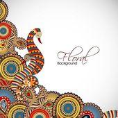 Ročník abstraktní květinové pozadí s designem páv. EPS 10
