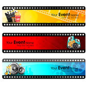 Movie website headers or banners set with full of entertainment and cinema objects EPS 10
