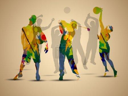Illustration pour Illustration grungy colorée de footballeur, basketteur et joueur de golf sur fond marron. - image libre de droit