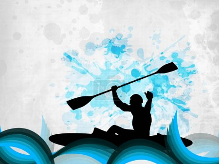 Silhouette of a man doing kayaking on abstract grungy blue background. EPS 10.