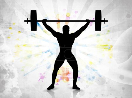 Silhouette of a weight lifter with heavy weight on colorful abstract grunge background. EPS 10.
