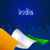 Indian Flag wave background and happy silhouette EPS 10