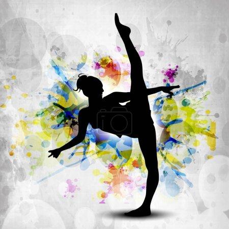 Rhythmic gymnastic girl illustration on colorful grunge backgrou