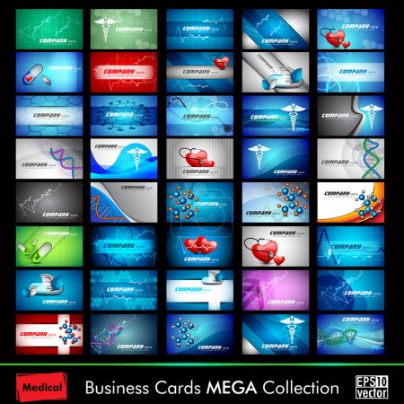 Illustration for Mega collection of 40 abstract medical business cards or visiting cards on different topic, arrange in horizontal. - Royalty Free Image