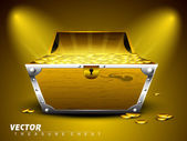 Treasure chest with full of coins on shiny abstract background