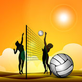 Silhouette of volley ball girls player playing volleyball ans vo