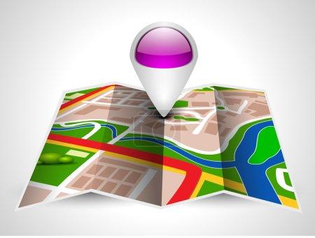Illustration pour Carte de navigation ou carte d'itinéraire avec pointeur sur fond gris. SPE 10 . - image libre de droit
