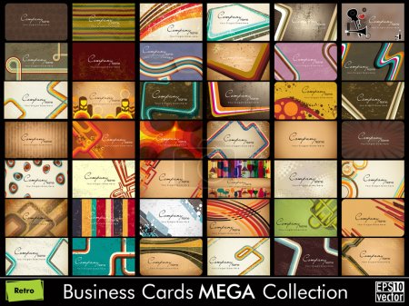 Illustration for Vintage collection of 42 abstract professional and designer business cards or visiting cards , arrange in horizontle. EPS 10. - Royalty Free Image