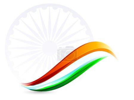 Illustration for Indian Flag background with Asoka wheel on white background. EPS 10. - Royalty Free Image