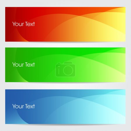 Vector illustration of banners or website headers with green, or