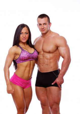 Photo for Portrait of couple posing in gym - Royalty Free Image