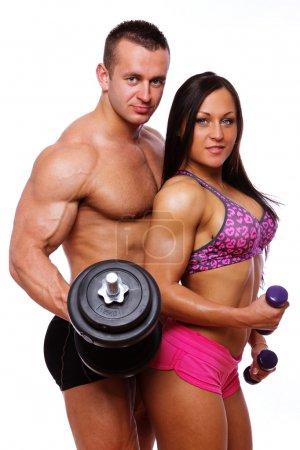 Portrait of couple posing in studio