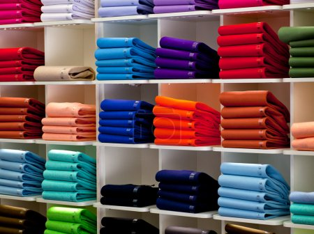Photo for Photo of Colorful Polo shirts, clothes shop - Royalty Free Image