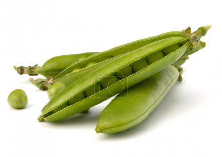 Photo for Fresh green pea pod isolated on white background - Royalty Free Image