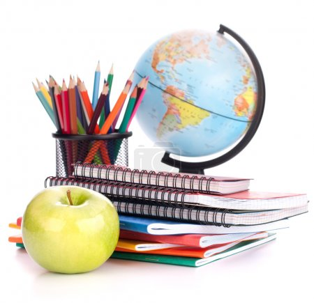 Photo for Globe, notebook stack and pencils. Schoolchild and student studies accessories. Back to school concept. - Royalty Free Image