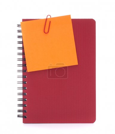 Red notebook with notice papers