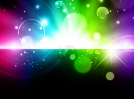 Illustration for Abstract glowing multicolored background with stars and lights - Royalty Free Image