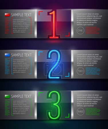 Design template - vector metal and glass banners with neon numbers