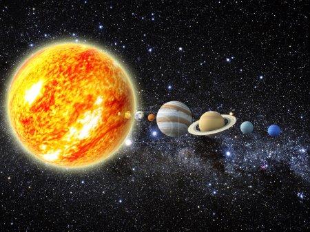 Photo pour Illustration de notre système solaire. 3d - rendu des cartes de www.planetpixelemporium.com - image libre de droit